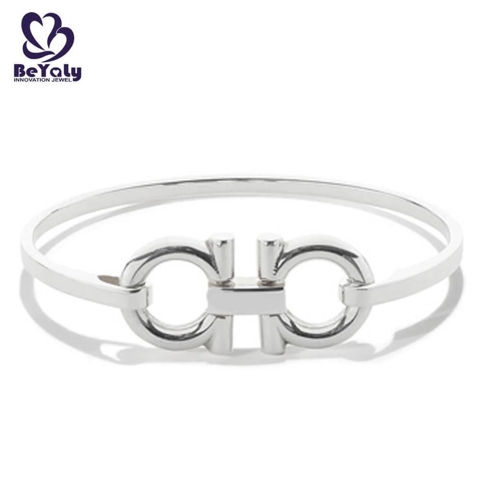 Simple doppel - looping design wholesale silver cuff bracelet