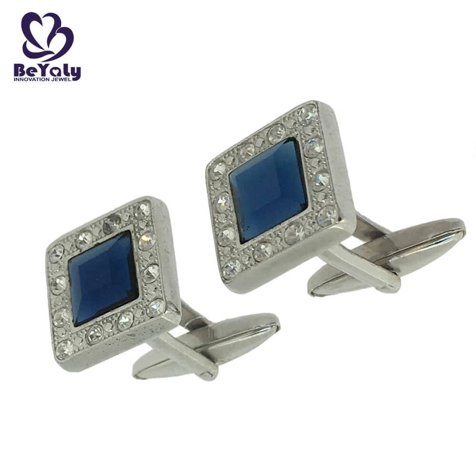 Fine quality blue stone square shaped cuff links for men