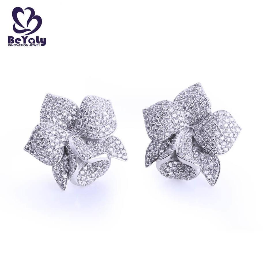 Full pave setting aaa cz blooming flower stud earrings