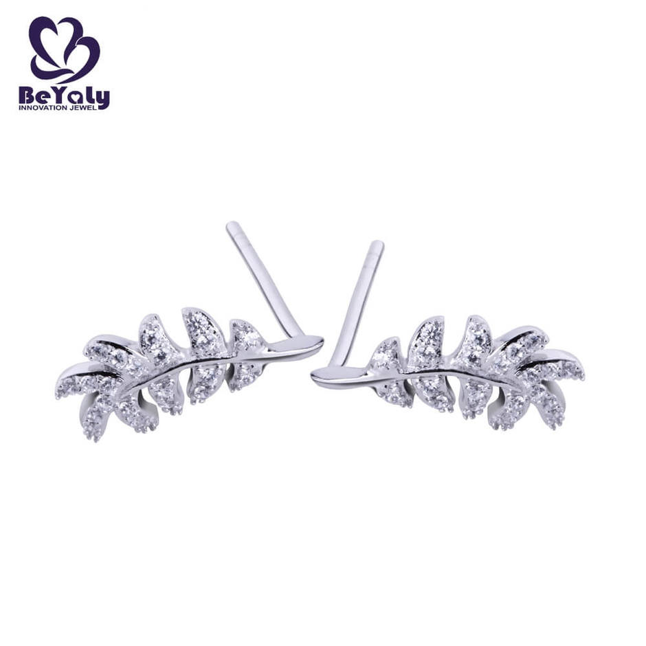 925 sterling silver feather shape with zircon earrings