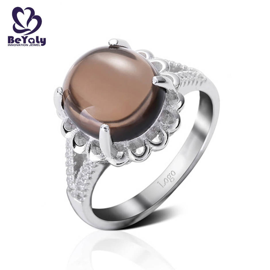 Platinum plating brown stone bulk jewelry ring exotic
