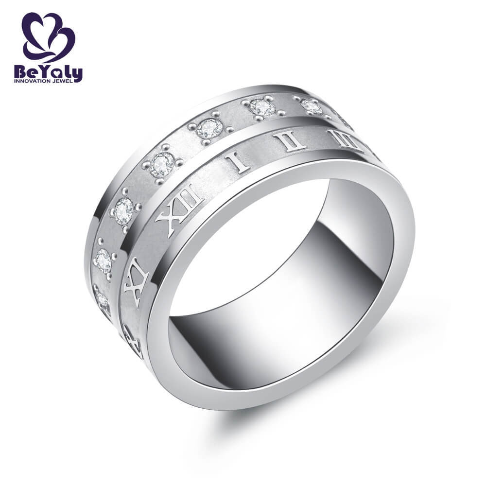Stainless steel aaa zircon roman numerals design rings