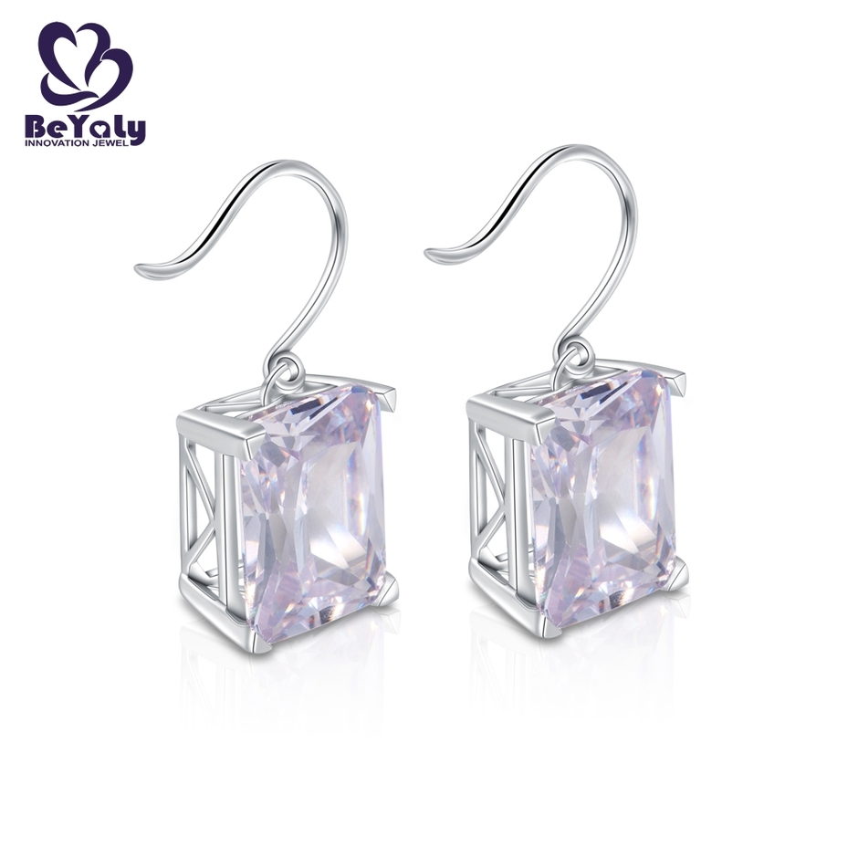 Big gemstone rhodium plated rectangle shaped hook earring